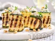 Зеленчукови рулца от тиквички с плънка от майонеза, топено сирене, чесън и копър